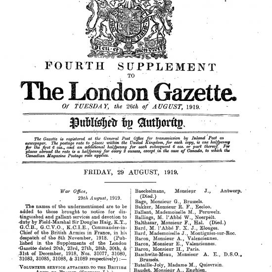A.L. Swannet in leger The London Gazette 26-08-1919 part I