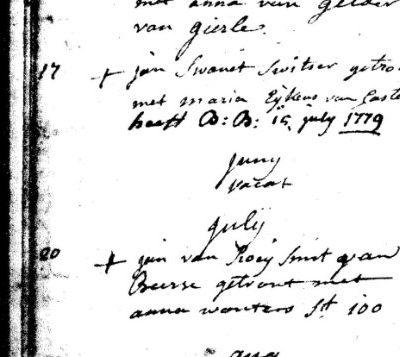 Inschrijving huwelijksregister St.Pieter te Turnhout; nummer 6327 d.d. 17 mei 1779 (let op: verschrijving maand mei ??((july)) Huwelijk met Anna Duperru