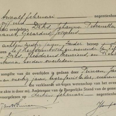 JohannaPetronellaDiks12021945Tilburg