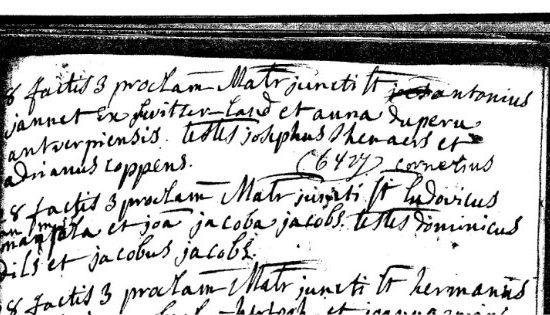 Inschrijving huwelijksregister St.Pieter Turnhout, nummer 6323 d.d. 18 april 1778